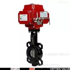 VATTEN球铁衬胶电动对夹蝶阀,污水电动中线蝶阀