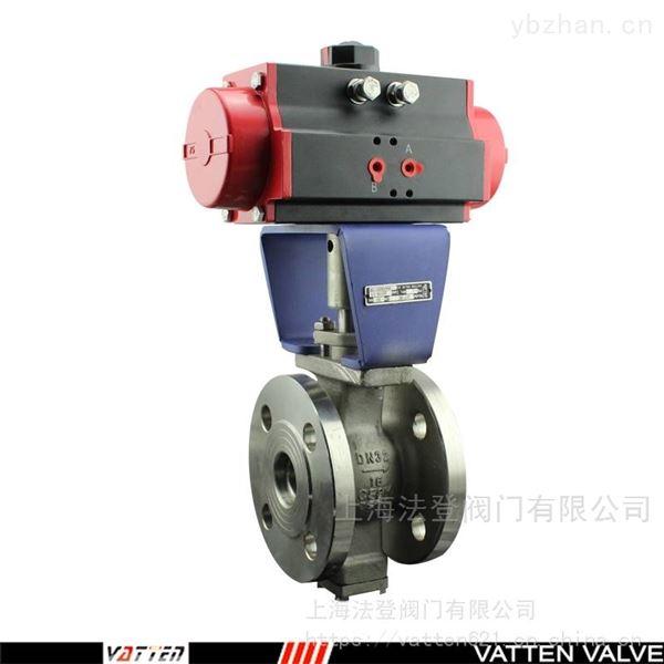 气动V型法兰球阀带反馈,流体介质剪切球阀