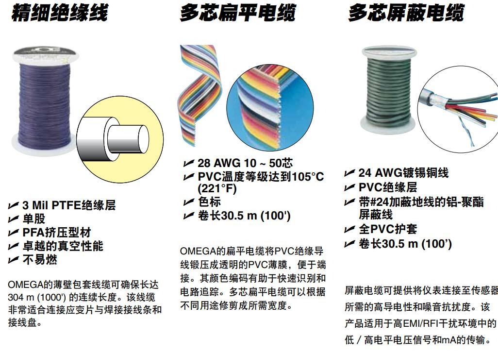<strong>原装美国OMEGA传感器和变送器用电线电缆</strong>